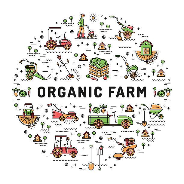 vector agriculture organic farm line icons, garden tiller, farm machines - 農業従事者点のイラスト素材/クリップアート素材/マンガ素材/アイコン素材