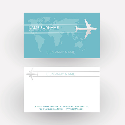 Vector air travel background. Airplane fly on the world. Business card