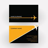 Vector air travel background. Black and orange business card