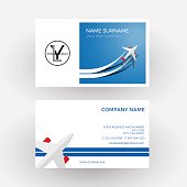 Vector air travel background. Blue business card