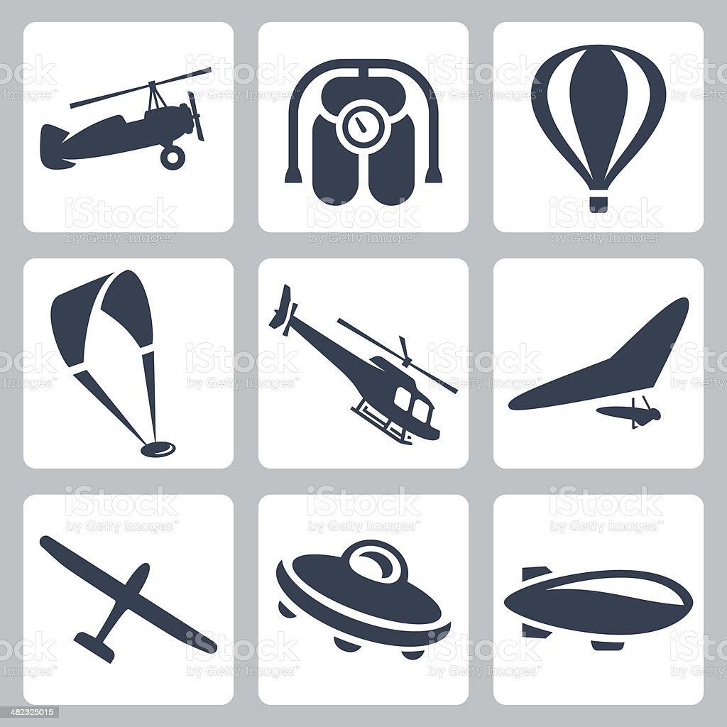 Vector aircrafts icons set vector art illustration