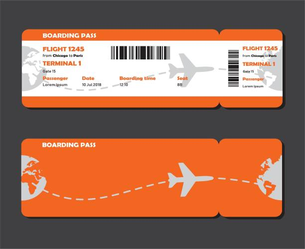 Vector airline boarding pass. Flat design of airline travel boarding pass two tickets. Vector template or mock up of two tickets isolated on grey background. airplane ticket stock illustrations