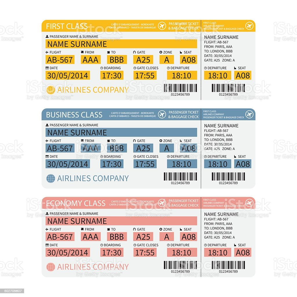 Vector airline passenger and baggage tickets with barcode. vector art illustration