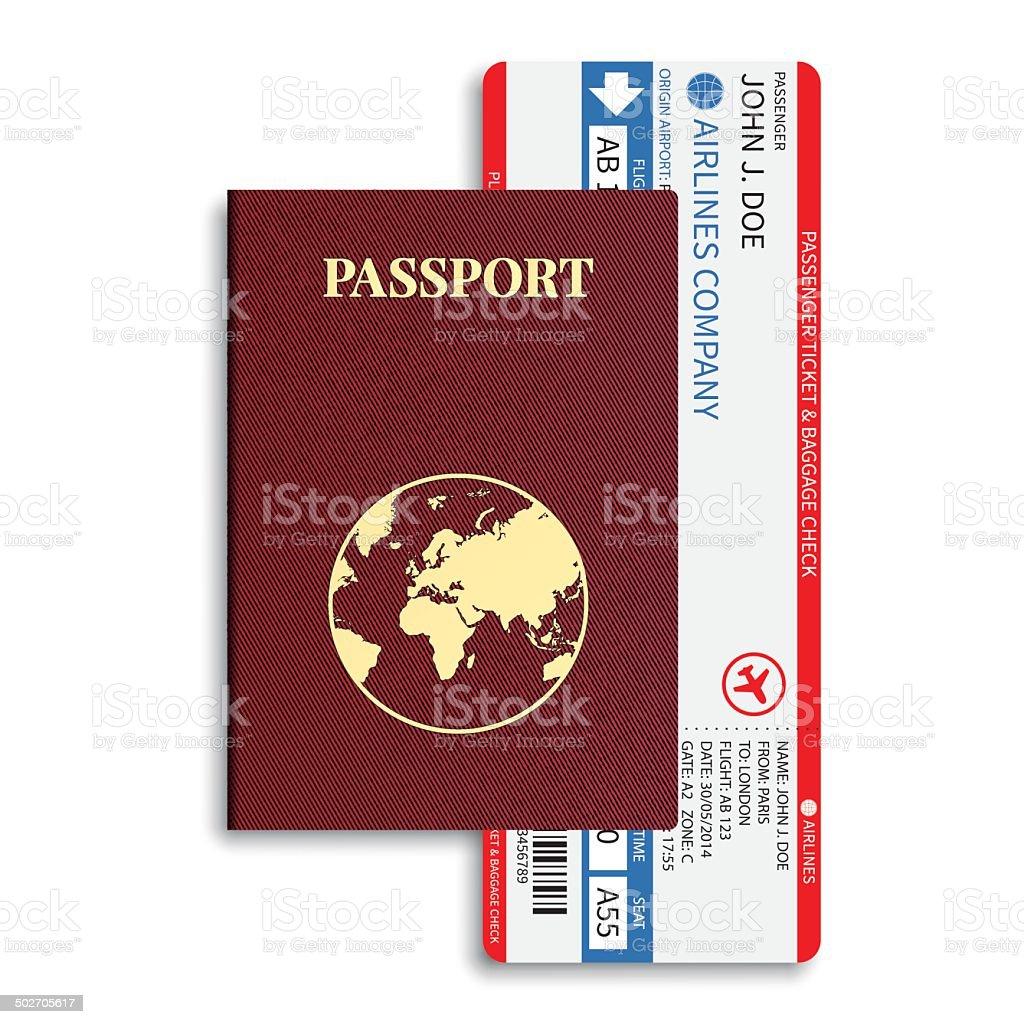 Vektor airline Passagier Gepäck tickets mit barcode und internationalen-passport. – Vektorgrafik