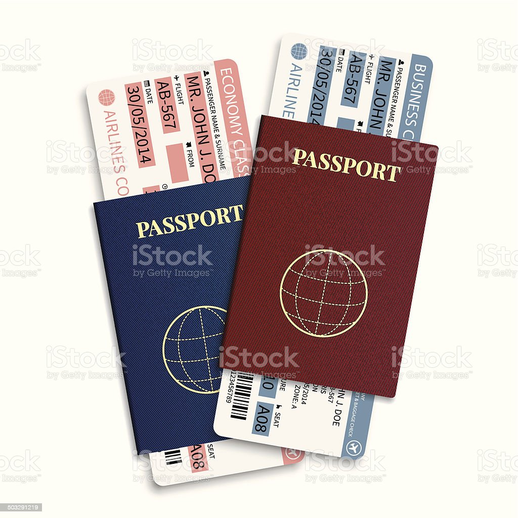 Vector airline passenger tickets with barcode and international passport. vektorkonstillustration