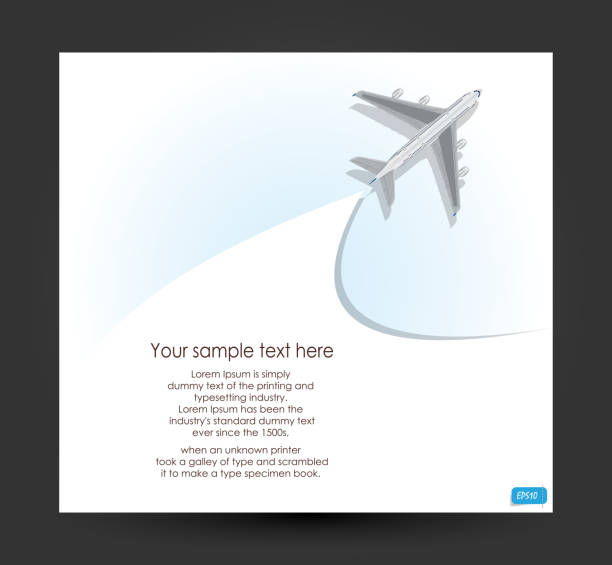 Vector airplane flying on blue background Vector airplane flying on blue background. vector illustration. aviation and environment summit stock illustrations