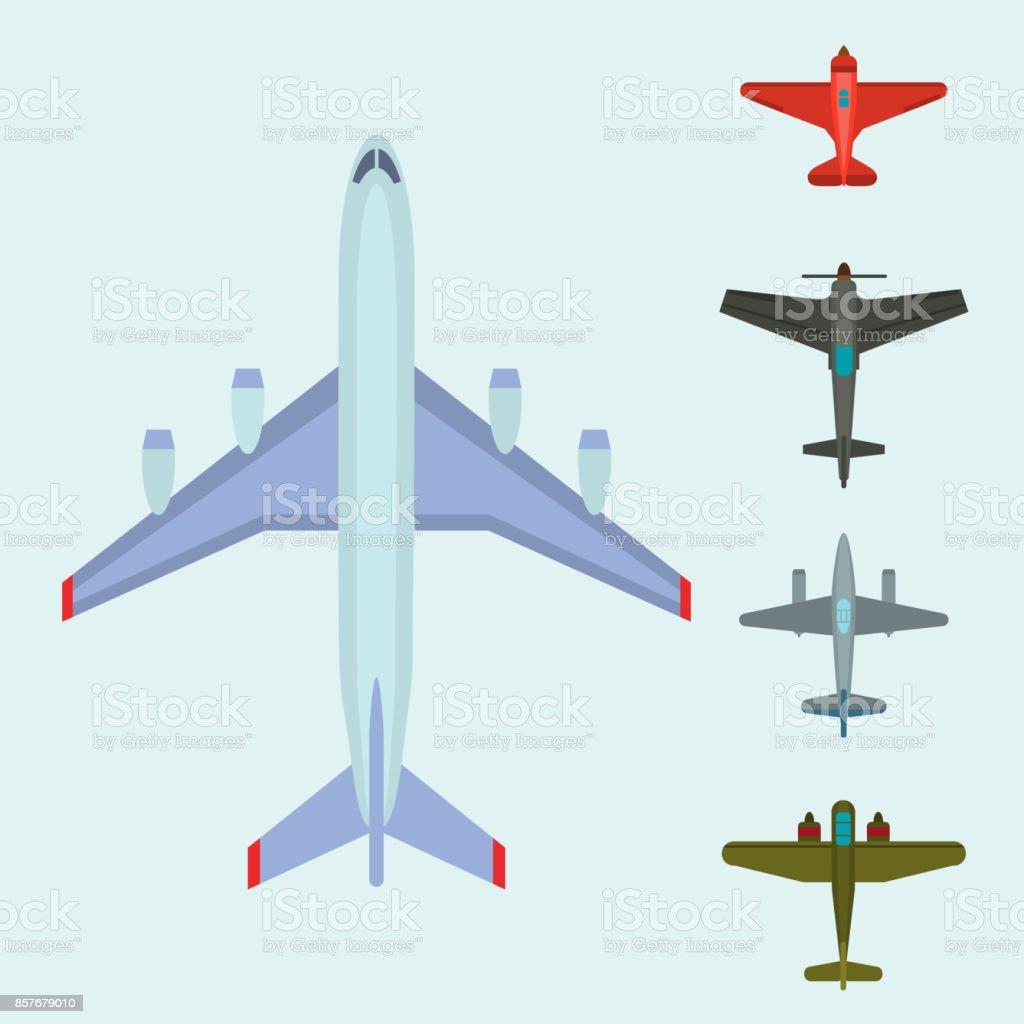 Vector Illustratie Bovenaanzichtvliegtuig En Vliegtuig Transport