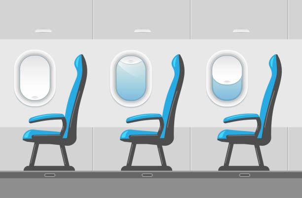 vektör uçak yolcu koltukları ile iç. - airplane seat stock illustrations