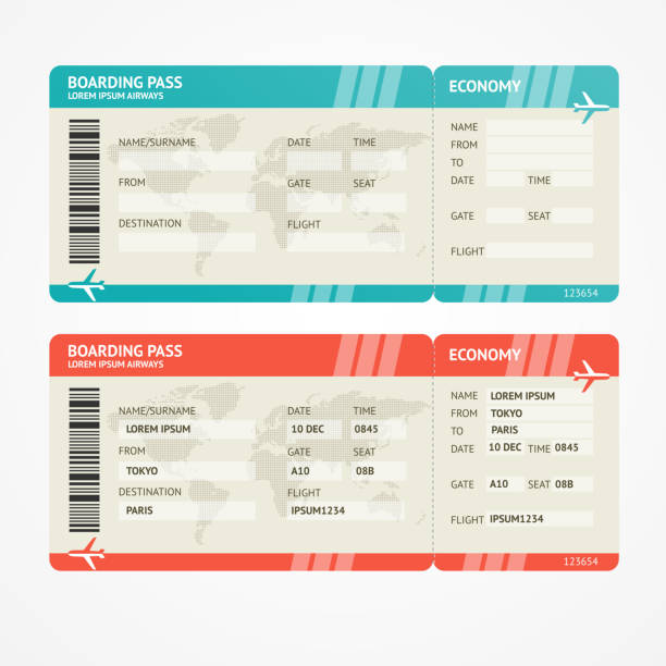 vector airplane tickets - airplane ticket stock illustrations
