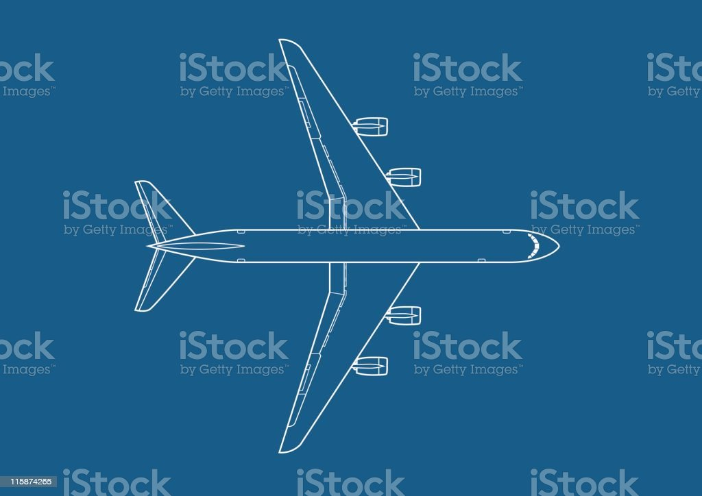 Vector airplane top view vector art illustration