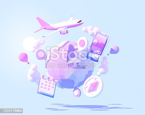 Vector airplane travel around the World illustration. International air travel around the planet. Global tourism. Online flight planning, buying or booking air flight tickets