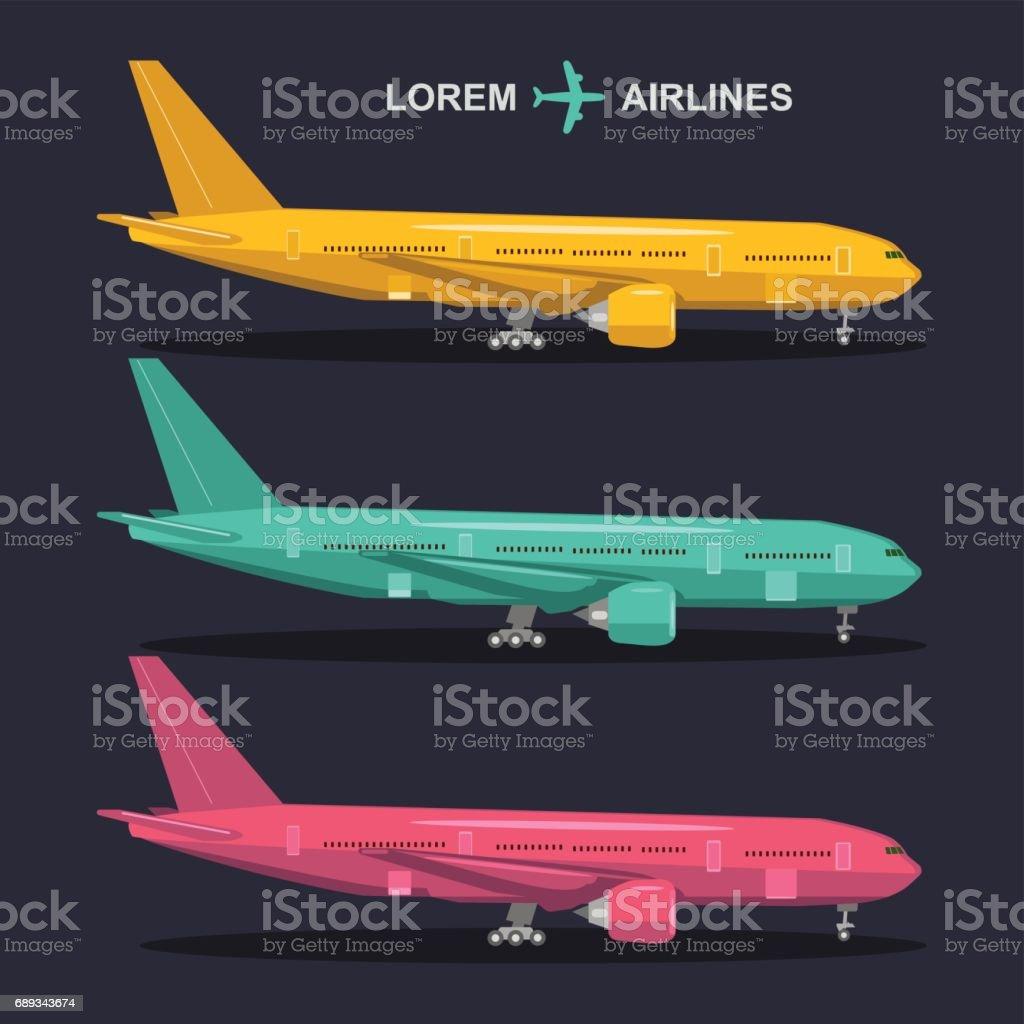 Vector Conjunto De Aviones Ilustraciones De Aviación De Estilo Plano ...