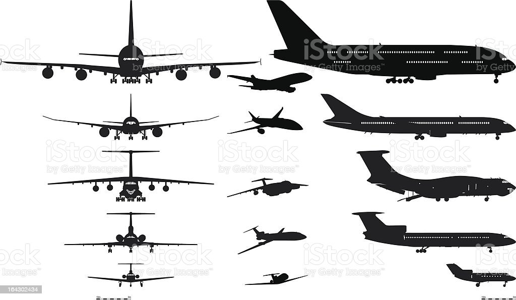 Vector airplanes silhouettes set vector art illustration