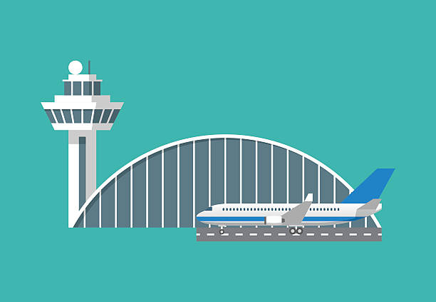 Vector airport building with control tower and plane International airport building with control tower and plane icon. Infographic element. Flat design vector illustration aviation and environment summit stock illustrations