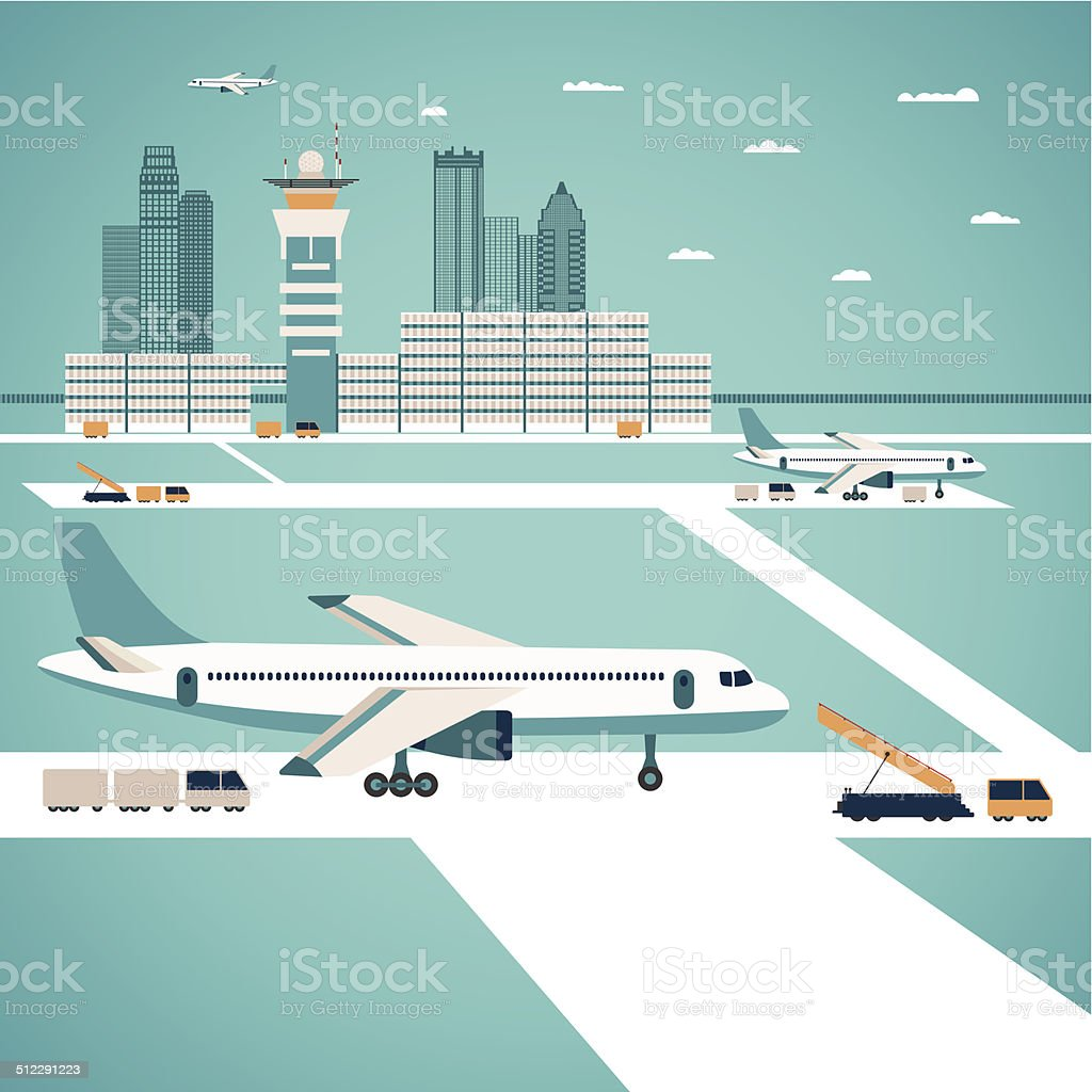 Vector airport concept vector art illustration