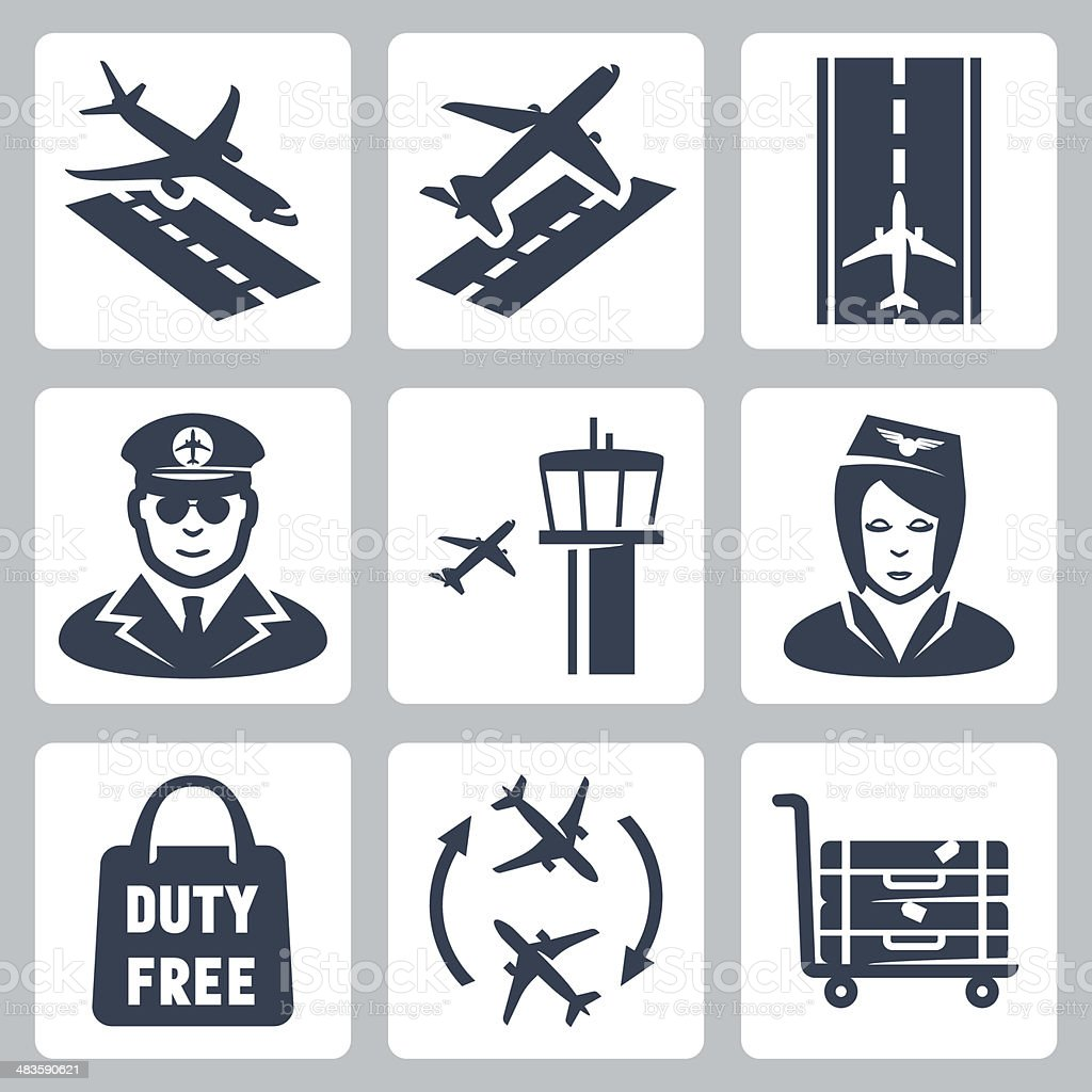 Vector airport icons set vector art illustration
