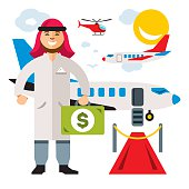 Vector Airport. Landing on the flight. Flat style colorful Cartoon