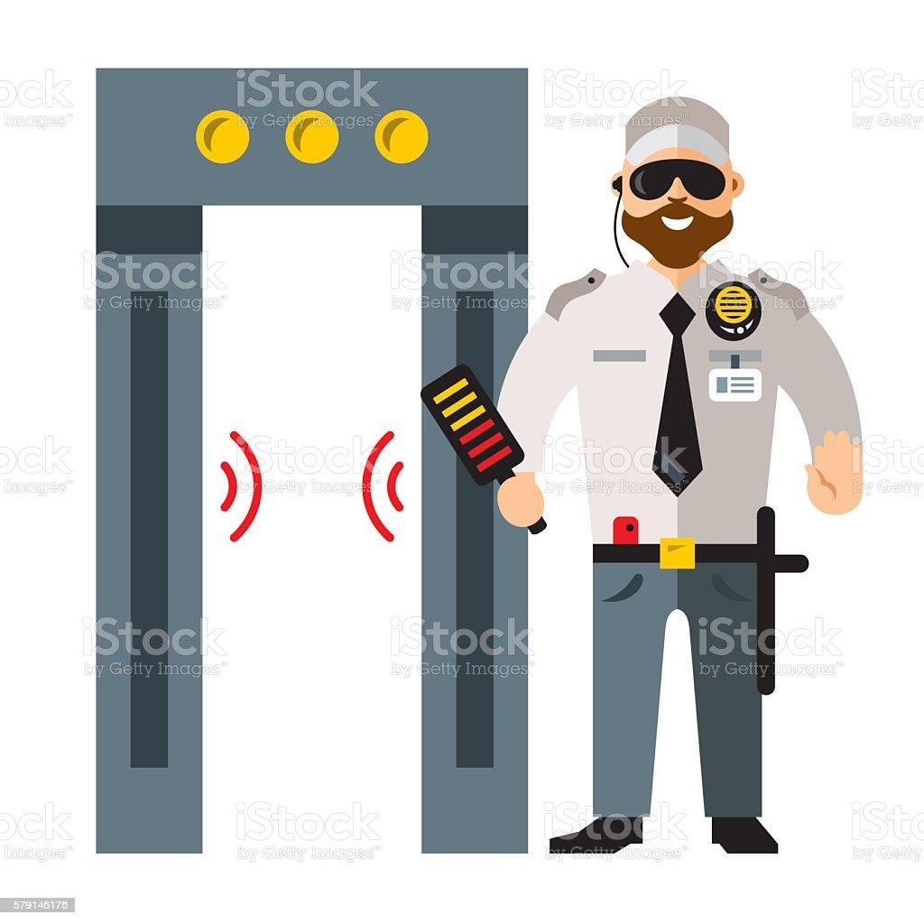 Jew Detector: Vector Airport Metal Detector Gate And Security Man Flat
