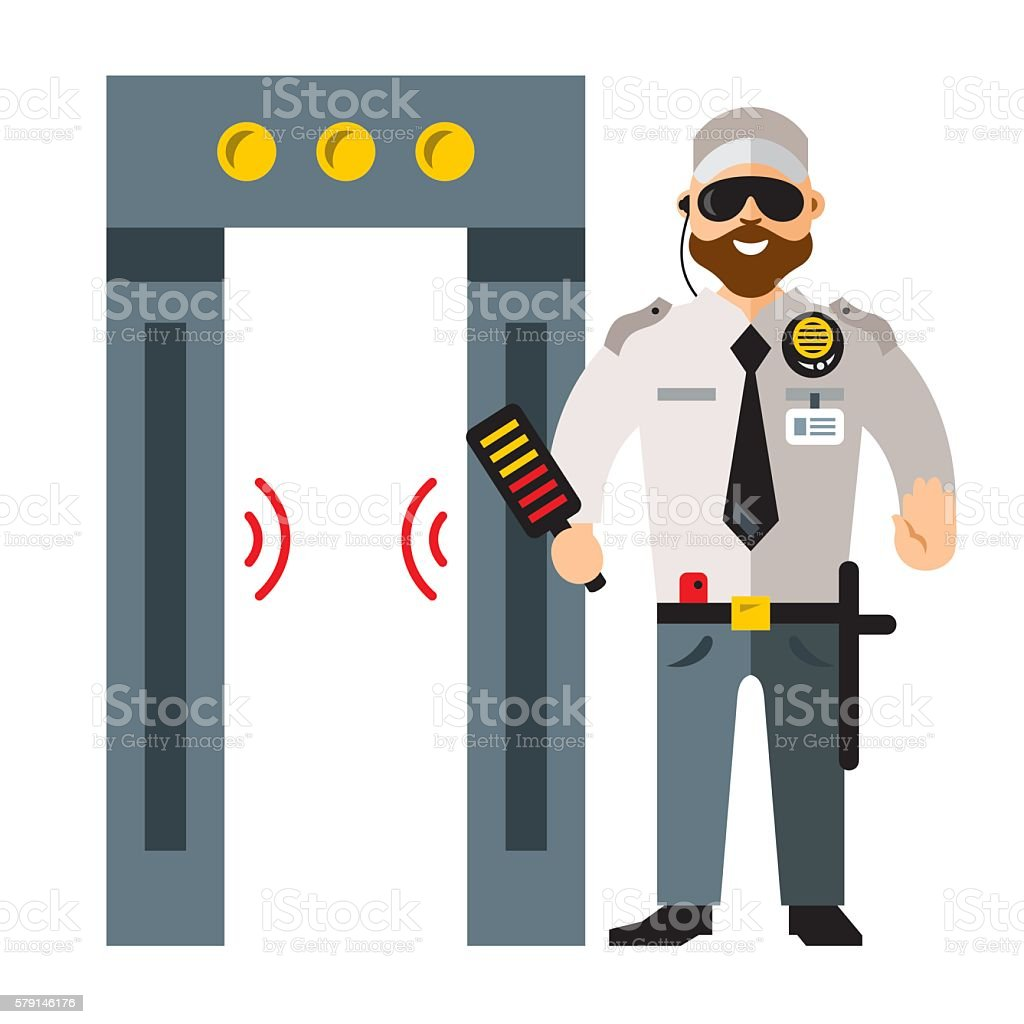 Vector airport metal detector gate and Security man. Flat style vector art illustration