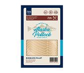 Vector alaska pollock flat style packaging design. Alaska pollock illustration and fish meat texture