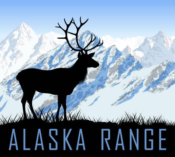 ilustrações de stock, clip art, desenhos animados e ícones de vector alaska range mountains lake with raindeer - tundra