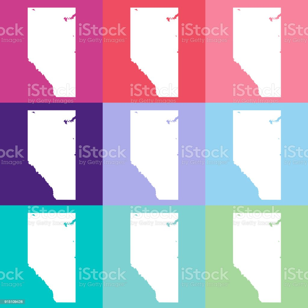 Vector Alberta, Canada Map in Beachy Colours vector art illustration