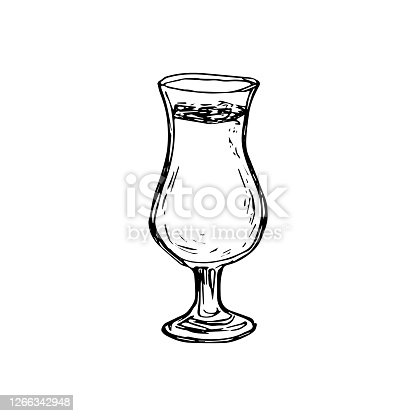 istock Vector alcohol cocktail pino colada. Hand drawn. Isolated element for summer menu, invitations, vacation design. 1266342948