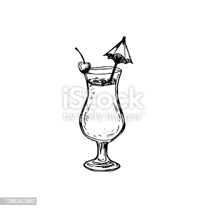 istock Vector alcohol cocktail pino colada. Hand drawn. Isolated element for summer menu, invitations, vacation design. 1266342952