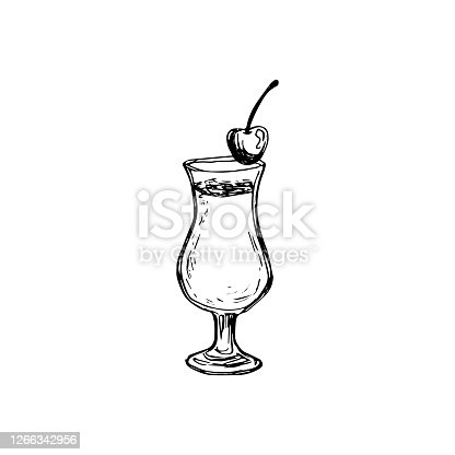 istock Vector alcohol cocktail pino colada. Hand drawn. Isolated element for summer menu, invitations, vacation design. 1266342956