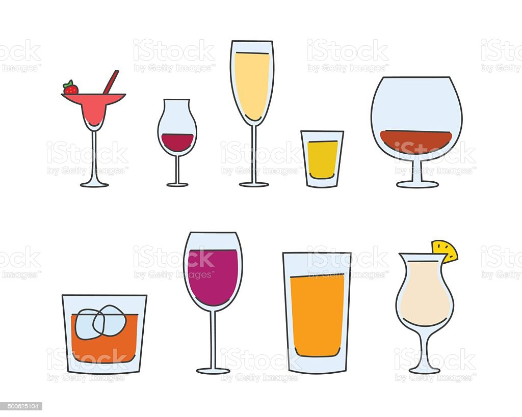vector alcohol tableware vector art illustration