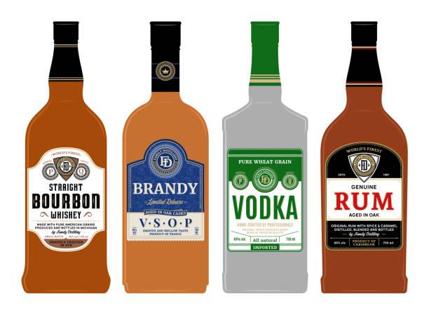 Vector alcoholic drinks labels on bottles Vector alcoholic drinks labels on bottles. Bourbon, rum, brandy and vodka labels. Distilling business branding and identity design elements. vodka stock illustrations