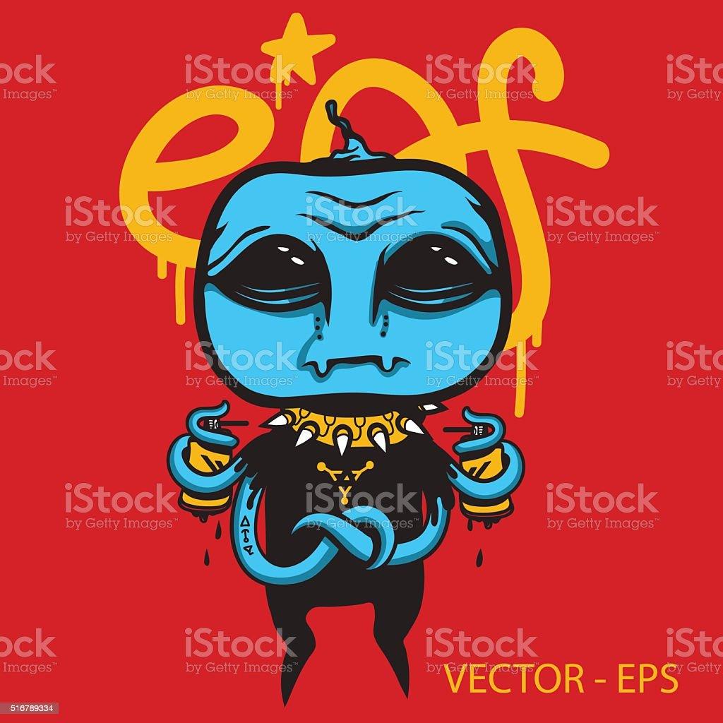 Vector Alien graffiti artist. vector art illustration