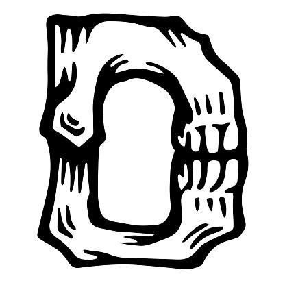 Vector alphabet and letter D. Skull white letter in hipster style.