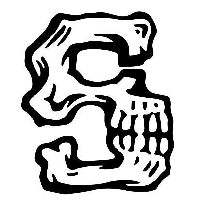 Vector alphabet and letter S. Skull white letter in hipster style.