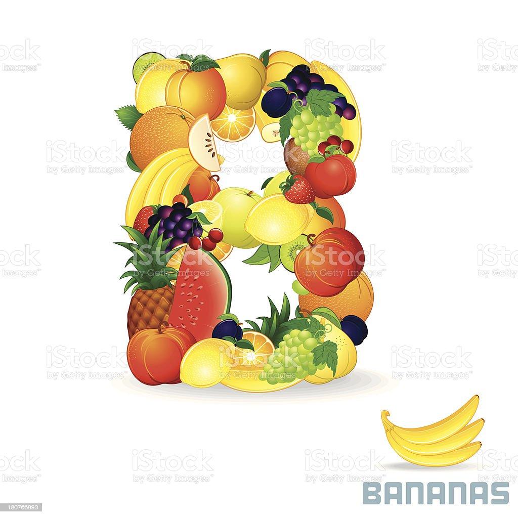 Vector Alphabet From Fruit. Letter B royalty-free stock vector art