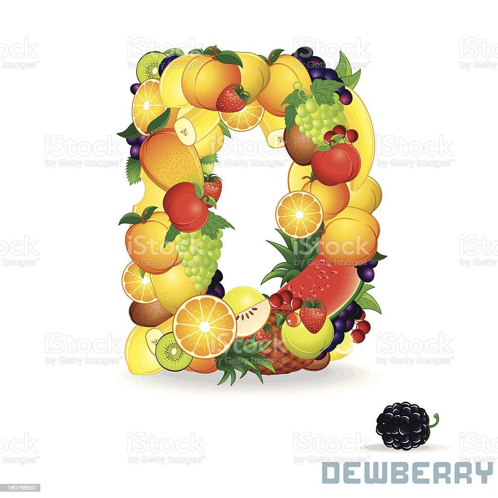 Vector Alphabet From Fruit. Letter D royalty-free stock vector art