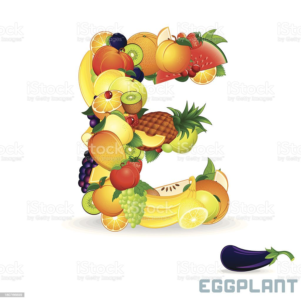 Vector Alphabet From Fruit. Letter E royalty-free vector alphabet from fruit letter e stock vector art & more images of abstract
