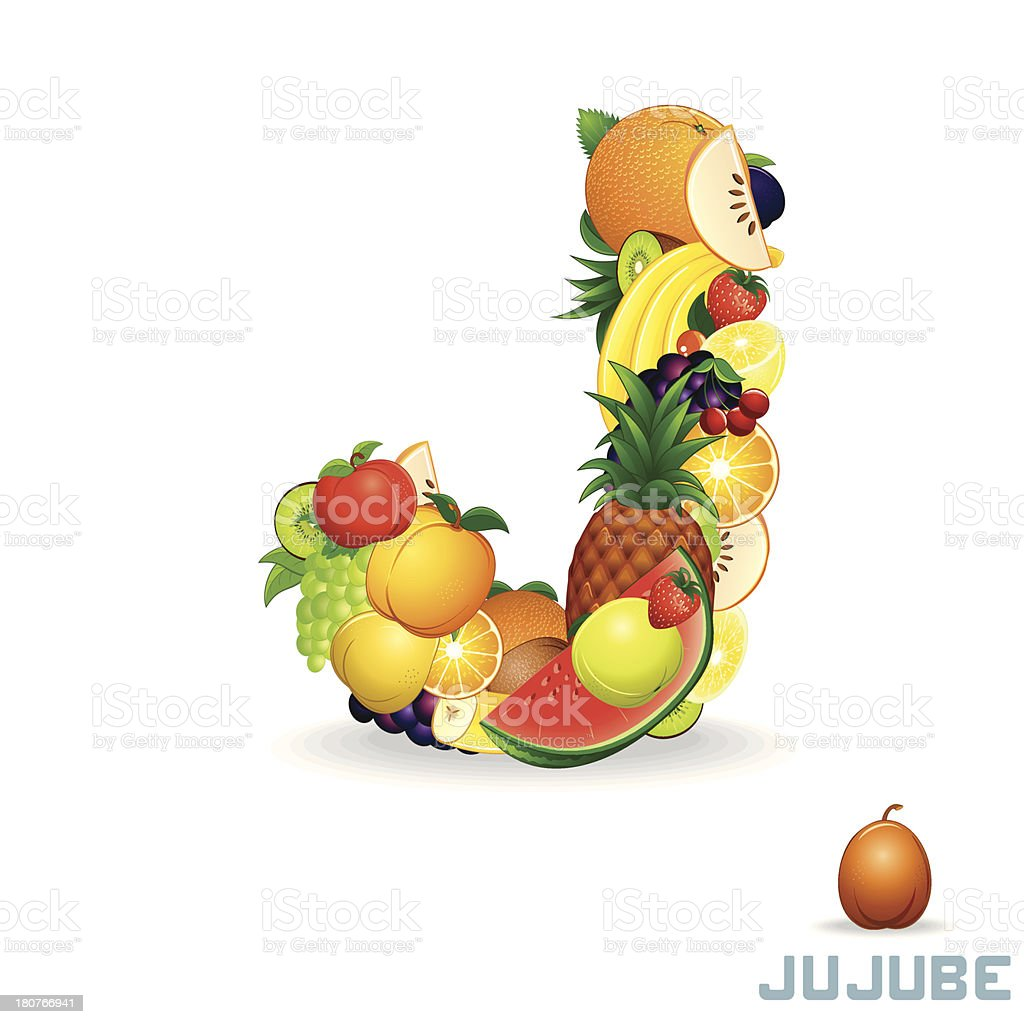 Vector Alphabet From Fruit. Letter J royalty-free vector alphabet from fruit letter j stock vector art & more images of alphabet