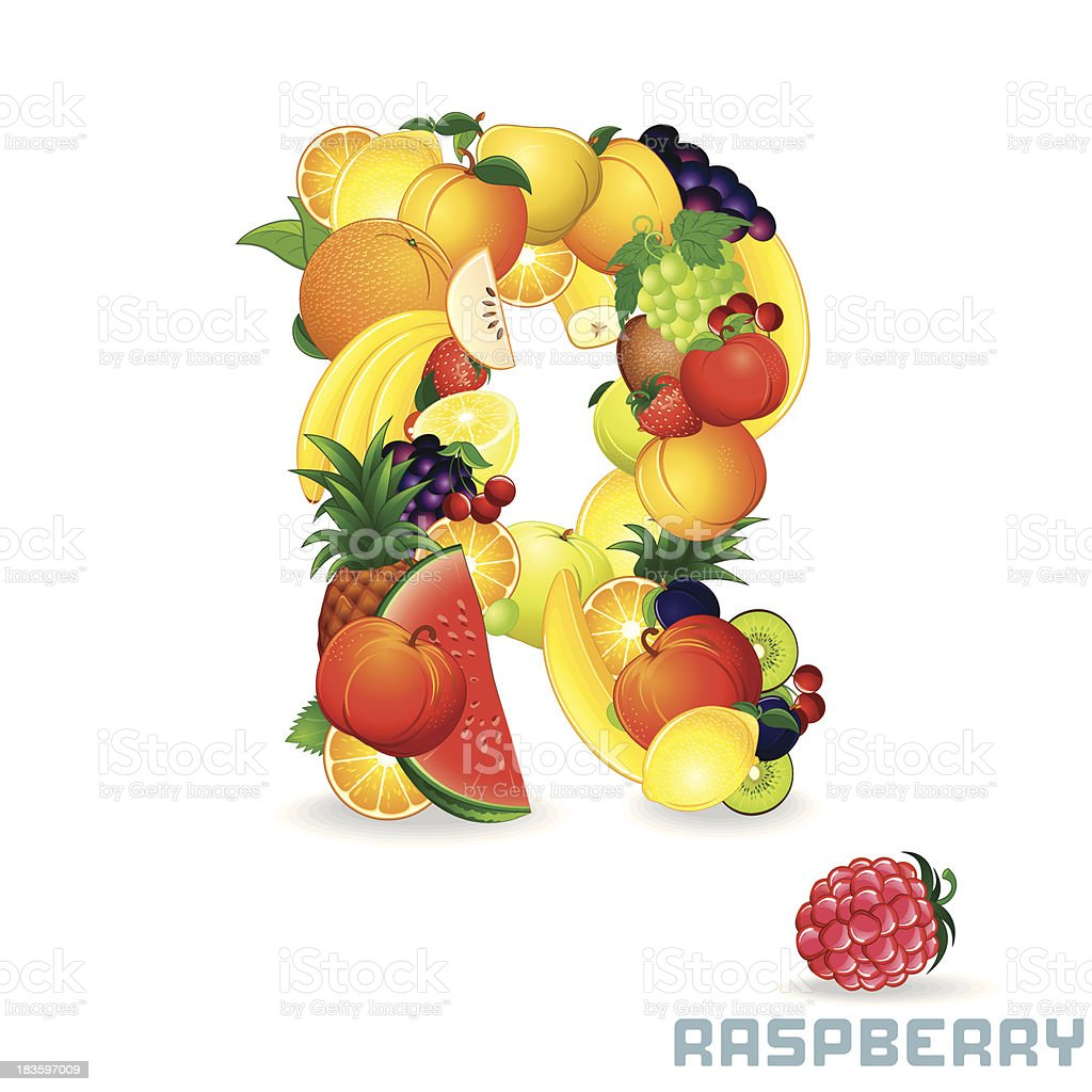 Vector Alphabet From Fruit. Letter R royalty-free stock vector art