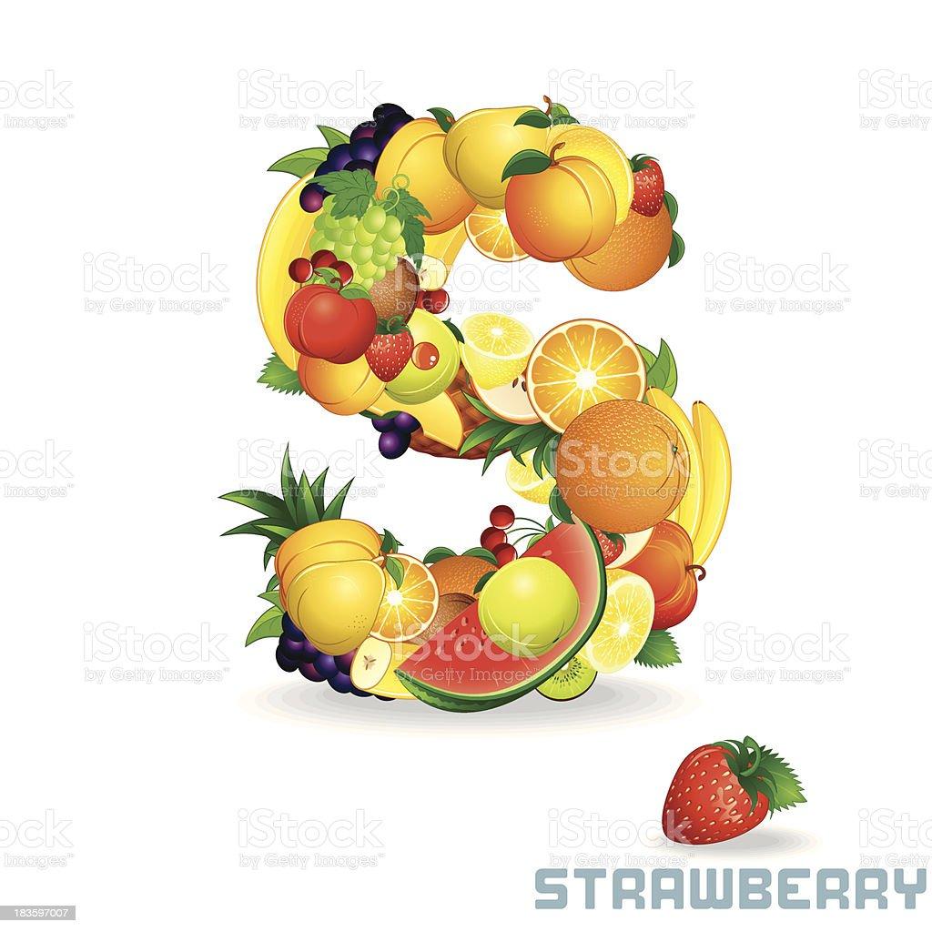 Vector Alphabet From Fruit. Letter S royalty-free stock vector art
