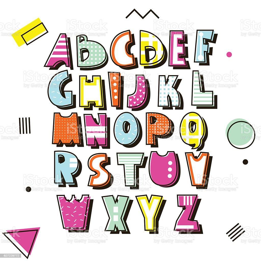Vector alphabet in retro style. type isolated. vector art illustration