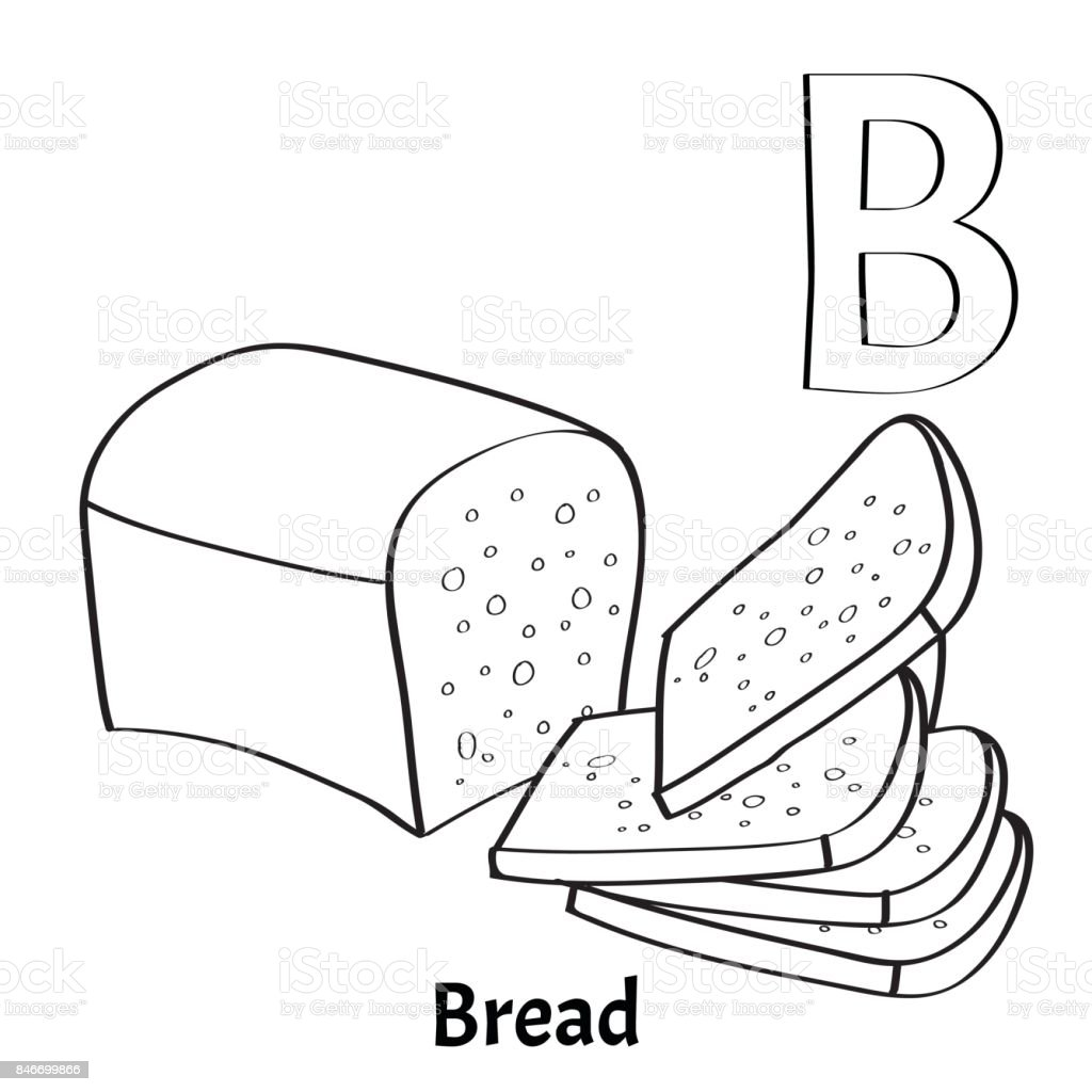Vector Alphabet Letter B Coloring Page Bread Royalty Free