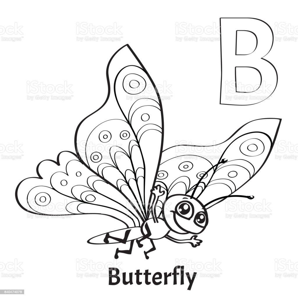 Ilustración de Letra Del Alfabeto Vector B Página Para Colorear ...