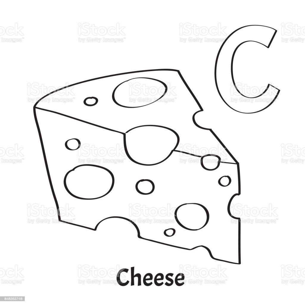 Vektör Alfabe Harf C Sayfa Boyama Peynir Stok Vektör Sanatı Alfabe