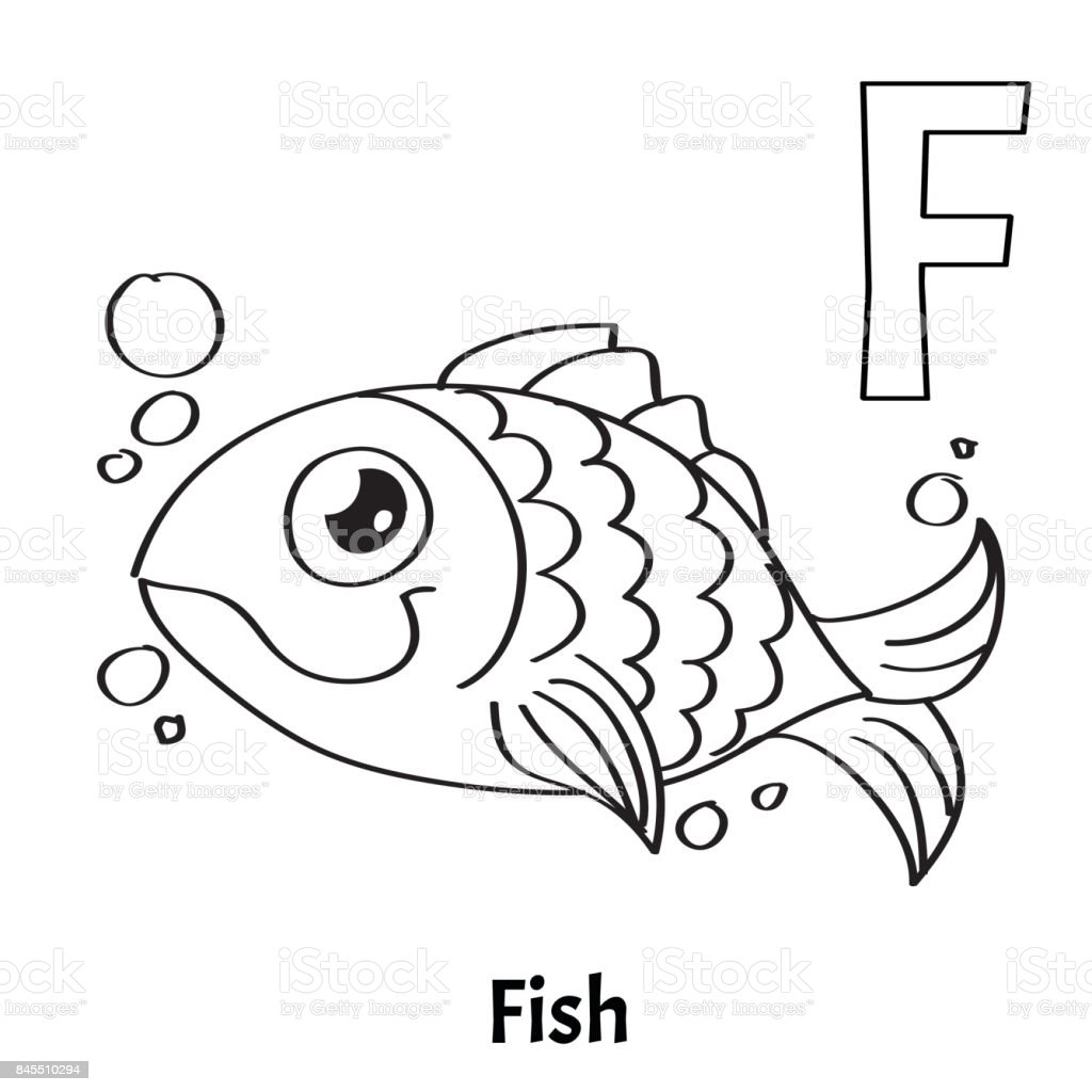 Vector Alphabet Letter F Coloring Page Fish Stock Vector Art & More ...