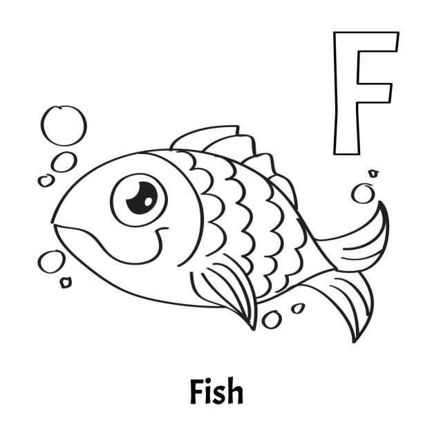 Vectores de Alfabeto De Colores Para Niños Letra F Fish y ...