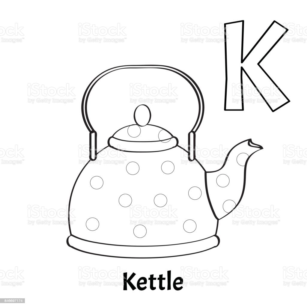 Vector Alphabet Letter K Coloring Page Kettle stock vector art ...