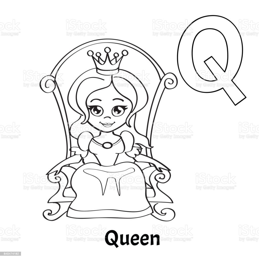 vector alphabet letter q coloring page queen royalty free vector alphabet letter q - Letter Q Coloring Page