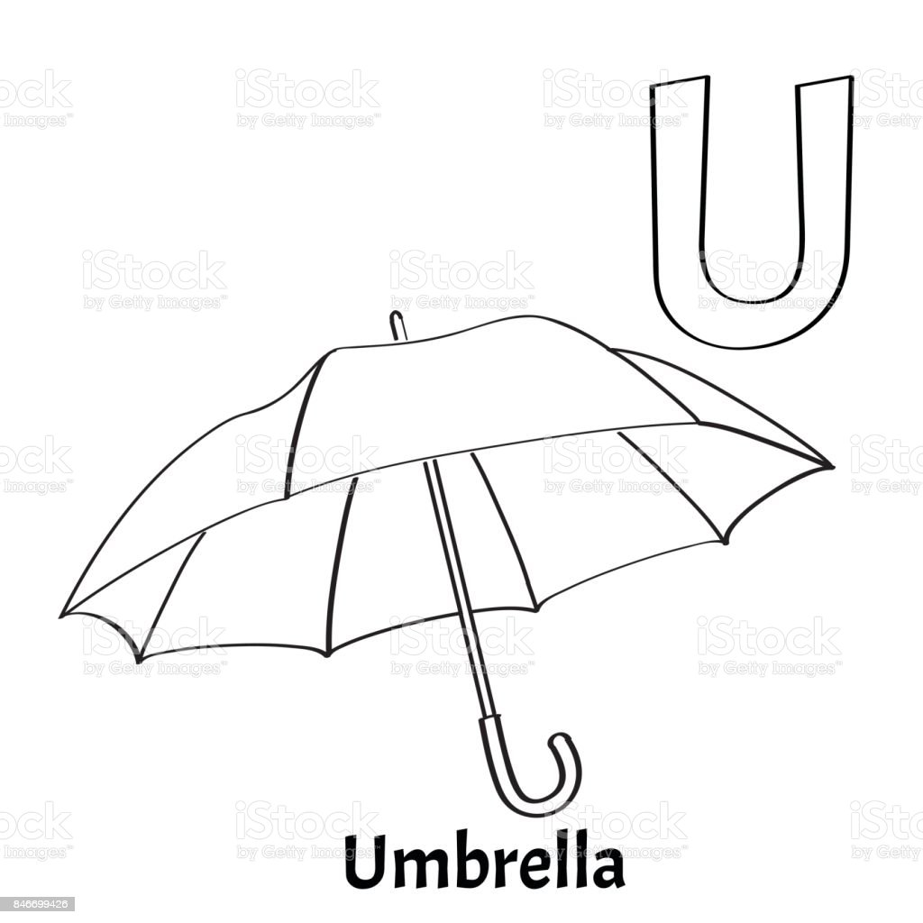 Vector Alphabet Letter U Coloring Page Umbrella Stock Vector Art ...