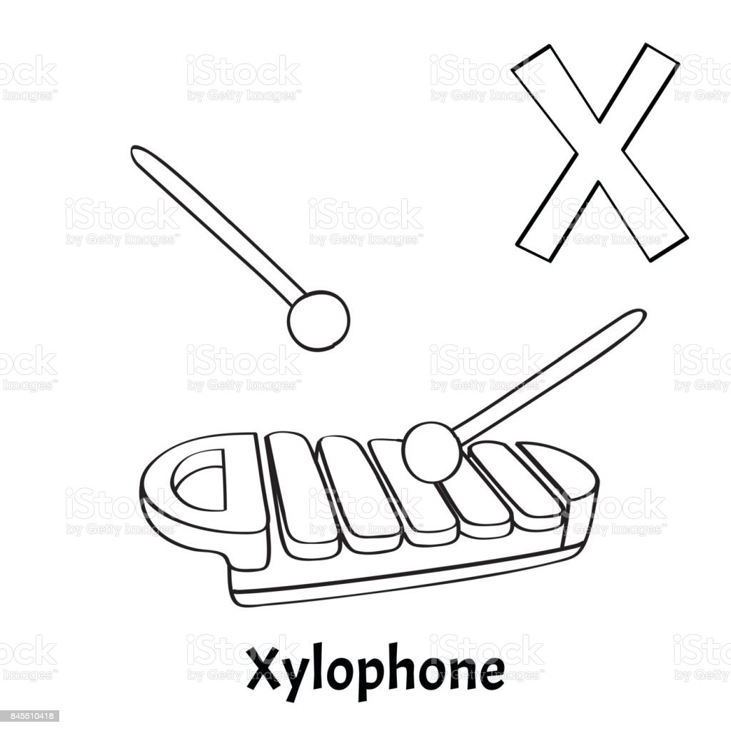 Vector Alphabet Letter X Coloring Page Xylophone Royalty Free